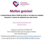 Campanya donacions de material sanitari: Moltes Gràcies!