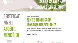 Benito Menni CASM obtè las certificació Argent-Menció Or de la Xarxa Catalan d'Hospital Sense Fum